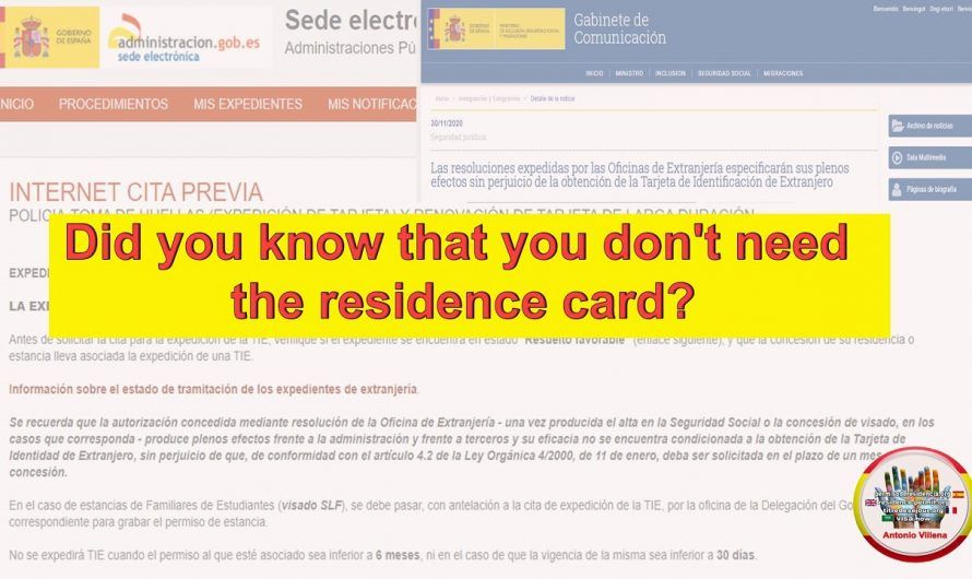 Are you aware you don't need the residence card?